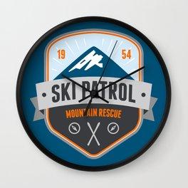 Ski Patrol Solid Blue Wall Clock
