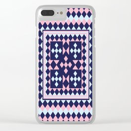 Patchwork Quilt - Pink Blue Navy Clear iPhone Case