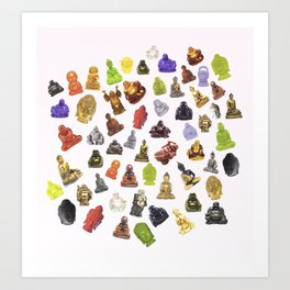 a bunch of buddhas. Art Print