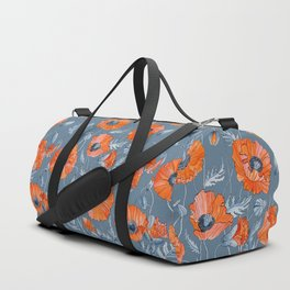 Red poppies in grey Duffle Bag