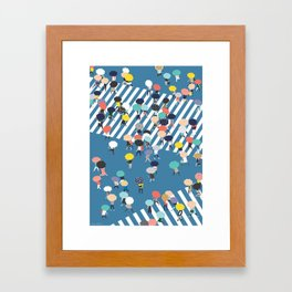 Crossing The Street On a Rainy Day - Blue Framed Art Print