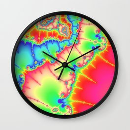 Astract art psychedelic art fractal art pink ligth green Wall Clock