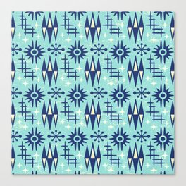 Mid Century Modern Atomic Space Age Pattern Blue Canvas Print