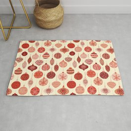 Christmas Ornaments Red Pink Beige Pattern Rug