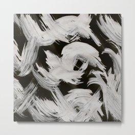 Brush, Abstract, White & Black Metal Print