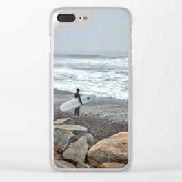 Surfer, High Tide. Torrey Pines State Beach, California. Clear iPhone Case