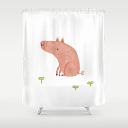 Sitting Pig Shower Curtain