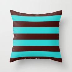 Chocolate Brown and Aqua Stripes Throw Pillow