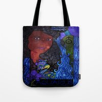 aquarius Tote Bags featuring Aquarius by Laura Jean