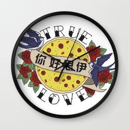 Pizza Love Tattoo Wall Clock