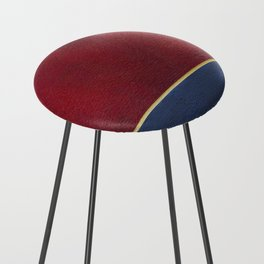 Deep Blue, Red And Gold Abstract Painting Counter Stool
