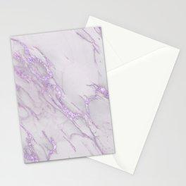 Marble Love Purple Metallic Stationery Cards