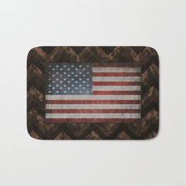 Coffee Brown Digital Camo Chevrons with American Flag Bath Mat