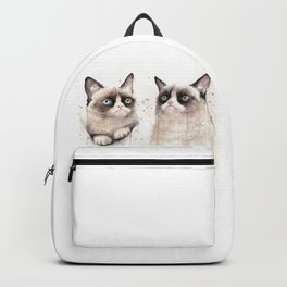 Grumpy Watercolor Cats Backpack