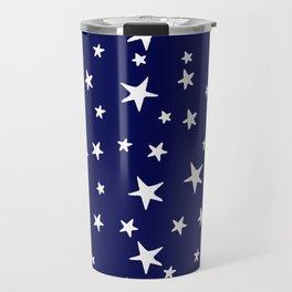 Stars - White on Navy Blue Travel Mug