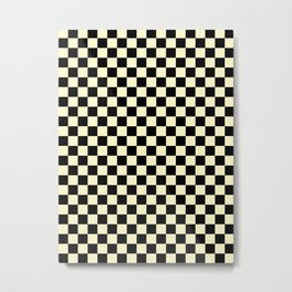 Black and Cream Yellow Checkerboard Metal Print