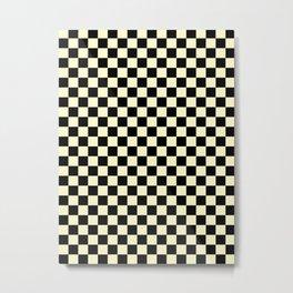 Black and Cream Yellow Checkerboard Metal Print