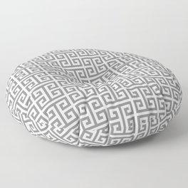 Gray and White Greek Key Pattern Floor Pillow