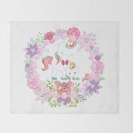 Flowers Hearts and Unicorns Throw Blanket