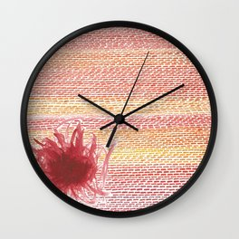 Scribbly Red Flower Wall Clock