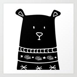 Book Doodles Bear Art Print