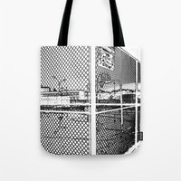 outdoor Tote Bags featuring outdoor basketball court black and white by Dragonheart