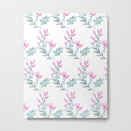 Pink and Green Watercolor  Floral Pattern Metal Print
