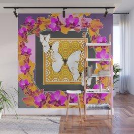 White Butterflies Pattern Purple-Pink Orchids Gold Art Wall Mural