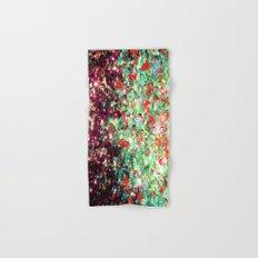 MISTLETOE NEBULA Colorful Festive Christmas Red Green Sparkle Galaxy Ombre Xmas Holidaze Abstract  Hand & Bath Towel