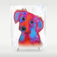 pop art Shower Curtains featuring Dog Pop - Pop Art by William Cuccio aka WCSmack