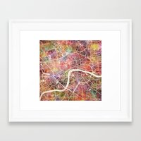 london map Framed Art Prints featuring London map by MapMapMaps.Watercolors