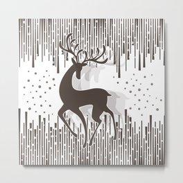 Dancing Deer - Black & White Metal Print