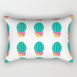 Cactus in Pink and Orange Pot - White Background Rectangular Pillow