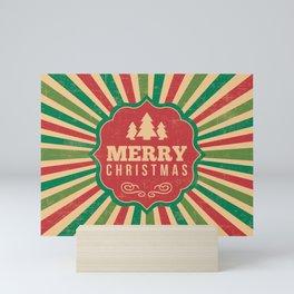 Retro Style Christmas With Sunburst Background Mini Art Print