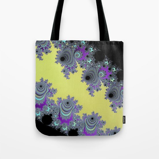 Asymmetrical Fractal in Yellow, Black and Purple Tote Bag