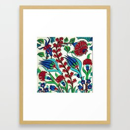 An Ottoman Iznik style floral design pottery polychrome, by Adam Asar, No 44 a Framed Art Print