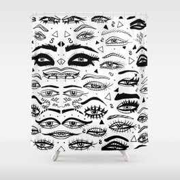 All Eyez on Me- Black and White Ink Drawing Shower Curtain