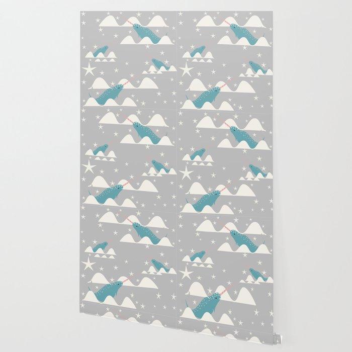 narwhal in ocean grey Wallpaper