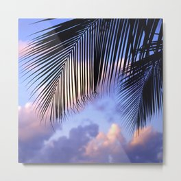 Tropical Palm Leaves at Sunset Metal Print