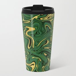 Luxury Marble Pattern in Emerald, Gold, Green and Copper Metal Travel Mug