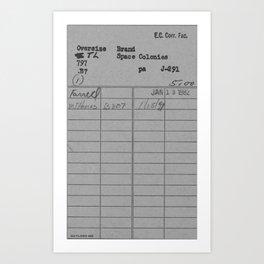 Library Card 797 Gray Art Print