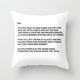 Anonymous Letter To Sammi Sweetheart Jersey Shore Throw Pillow