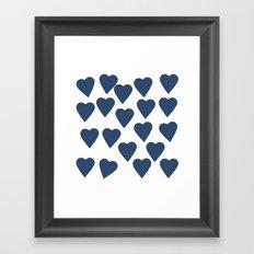 Hearts Navy Framed Art Print
