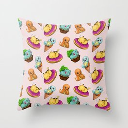 PokeSweets Pattern Pink Throw Pillow