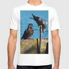 Drinking Pigeons White MEDIUM Mens Fitted Tee