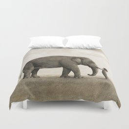 One Amazing Elephant - sepia option Duvet Cover
