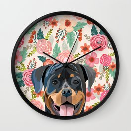 Rottweiler floral pet portrait dog breed gifts for pure breed dog lovers Wall Clock