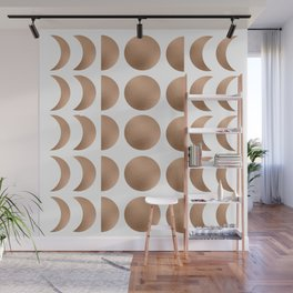 Rose Gold Moon Phase Pattern Wall Mural