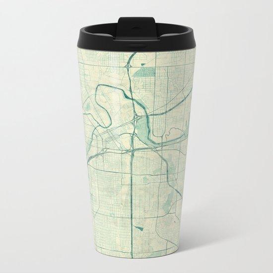 Fort Worth Map Blue Vintage Metal Travel Mug