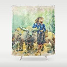 Animals Asia Buffalo Shower Curtain